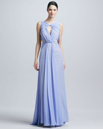 Badgley Mischka Sleeveless Triangle Neck Gown - Lyst