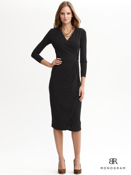 Banana Republic Monogram Knit Faux Wrap Dress In Black Lyst