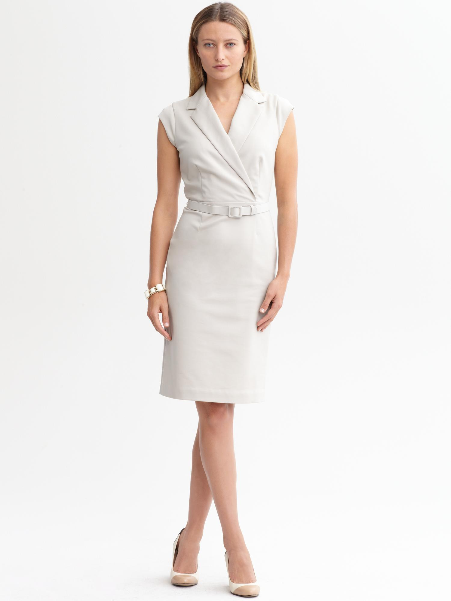 Banana Republic Sleek Suit Belted Dress In Washed Stone