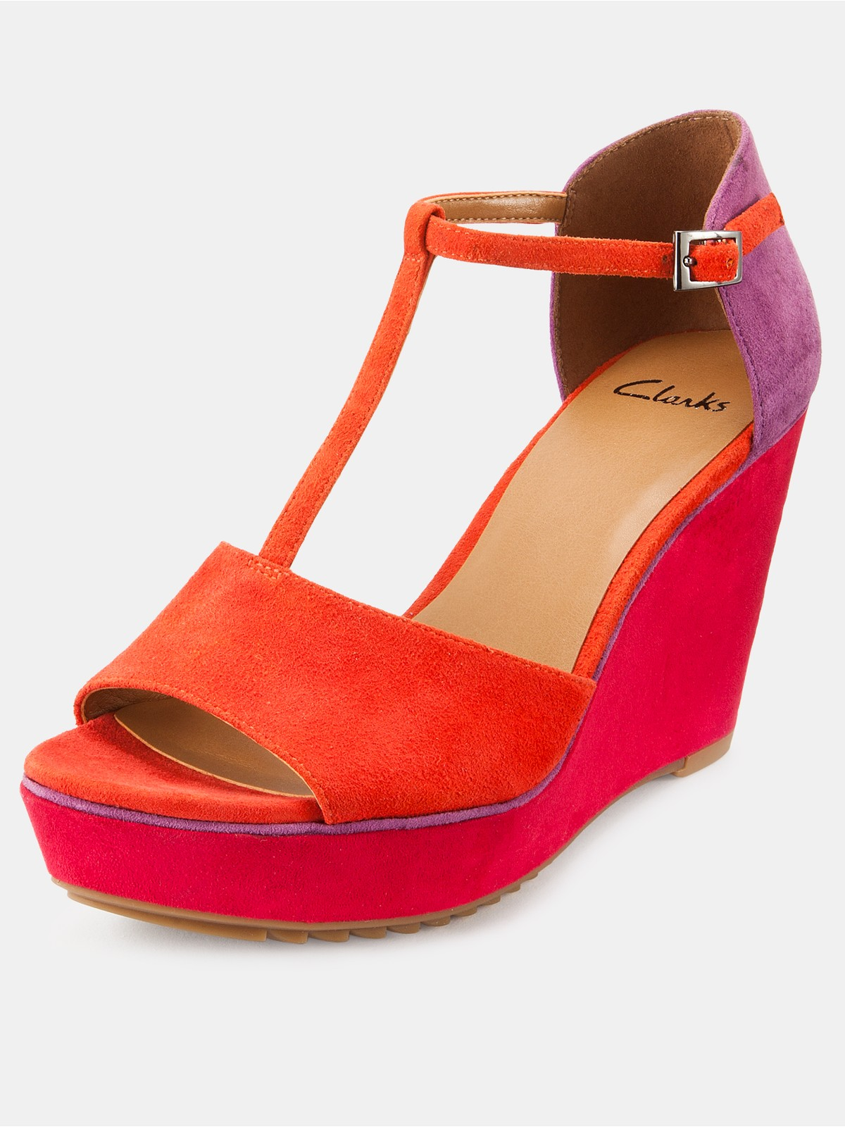 Clarks Scent Flower Wedge Sandals In Red Coral Suede Lyst