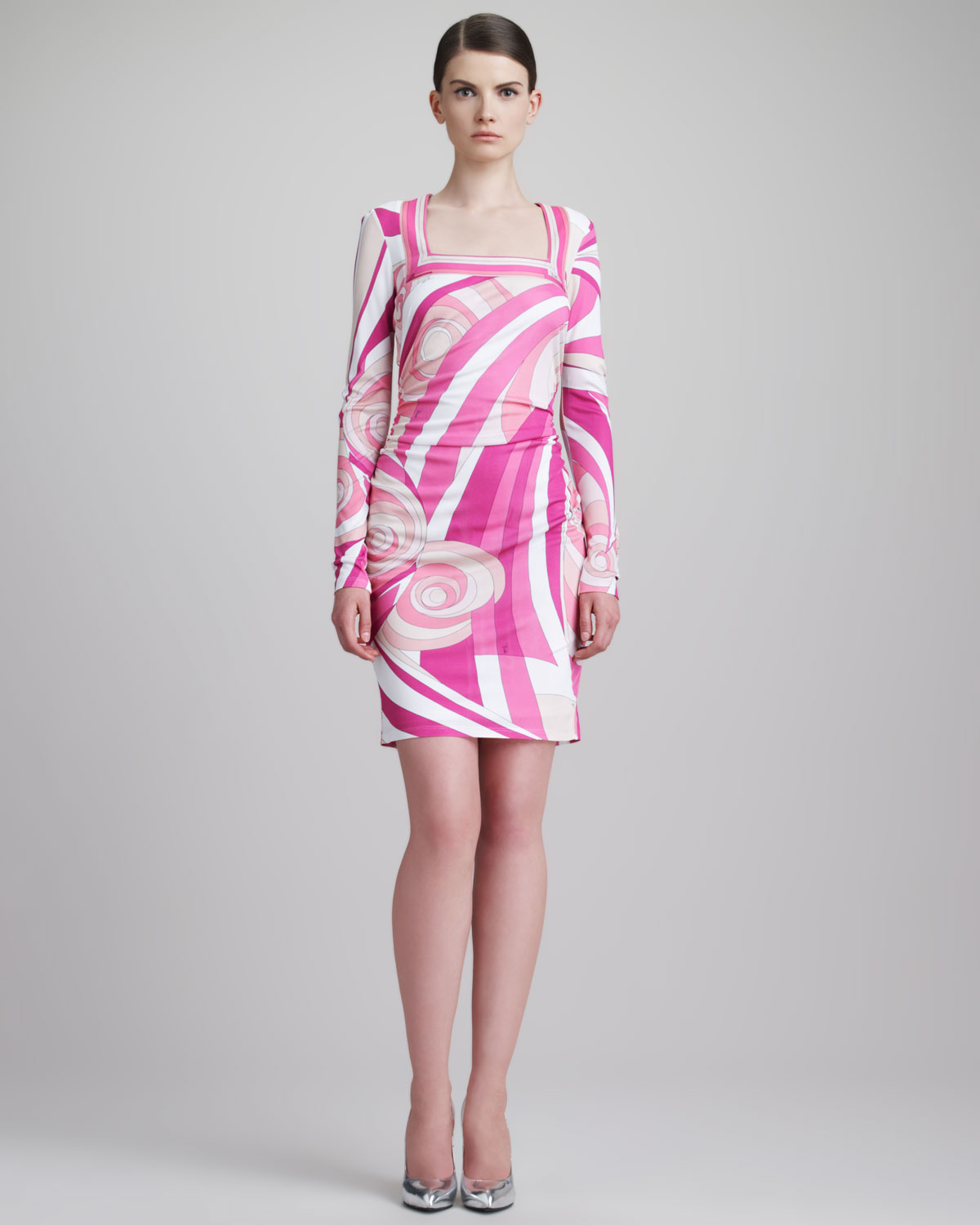 Lyst - Emilio Pucci Shirred-side Square neck Print Dress Pink in Pink ae3185b7f