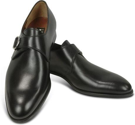 Fratelli Rossetti Black Calf Leather Monk Strap Shoes in Black for Men