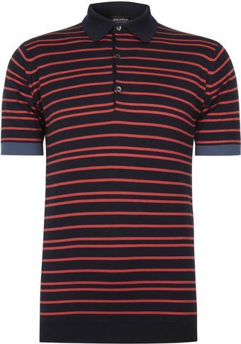 John Smedley Brown Tyrone Striped Polo Shirt - Lyst
