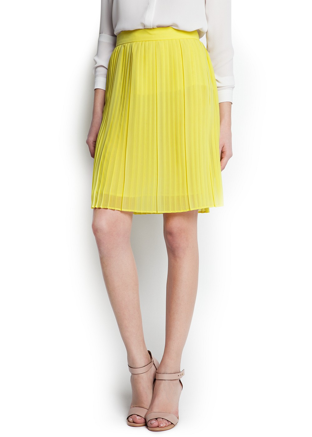 Mango Pleated Skirt in Yellow | Lyst