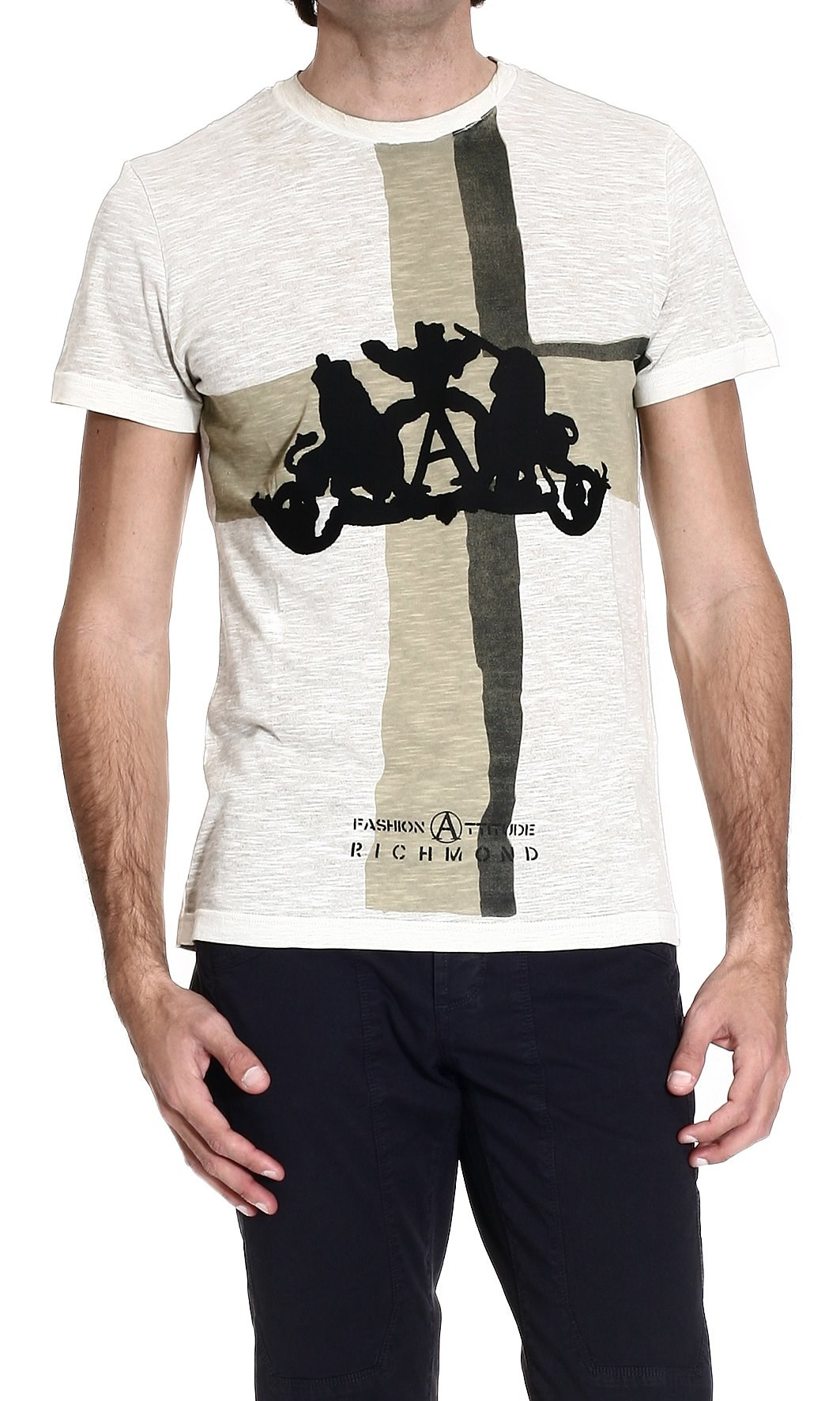 John richmond t shirt in blue for men military lyst for T shirt printing richmond va