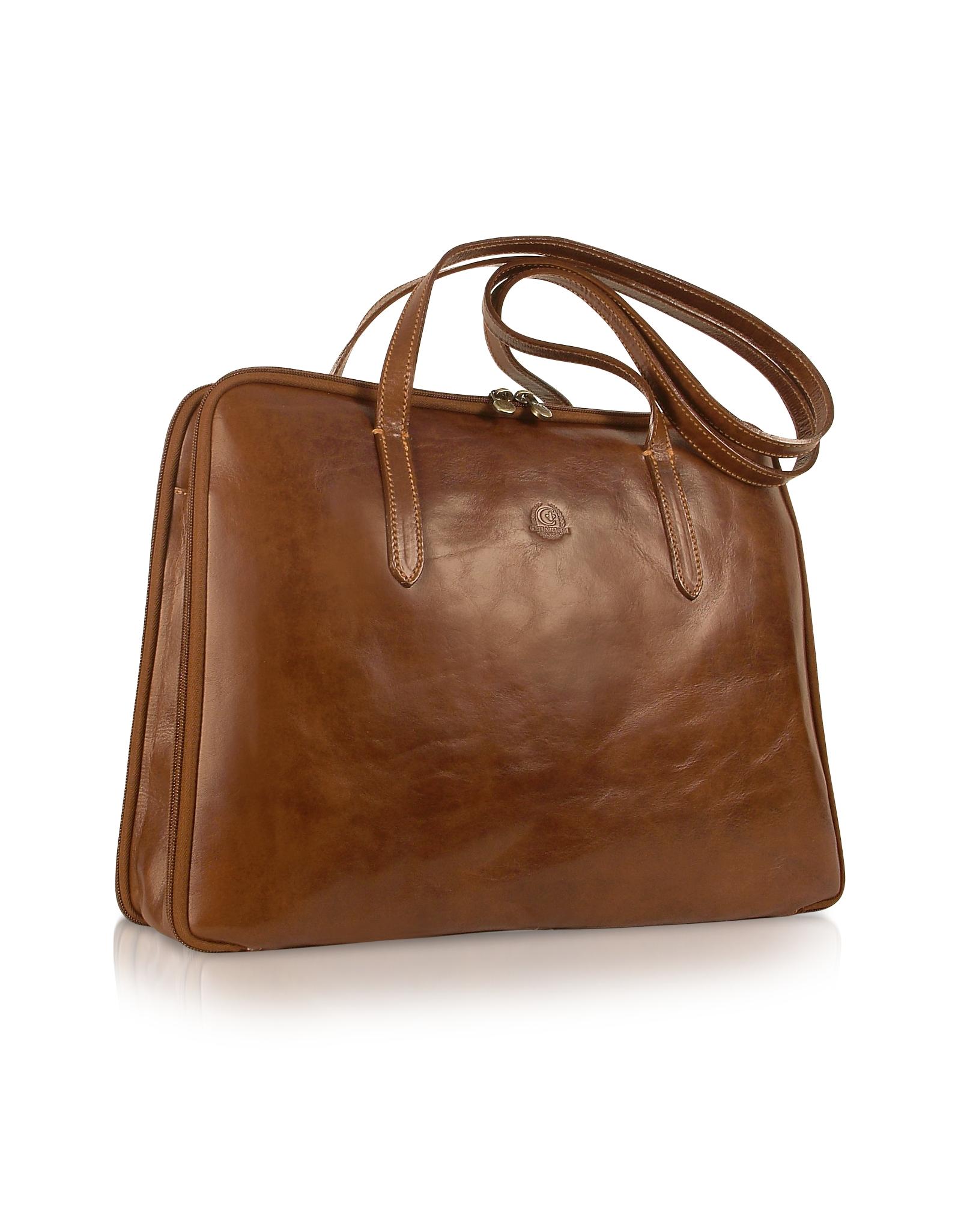 Chiarugi Handmade Brown Genuine Italian Leather Business Bag In Brown | Lyst
