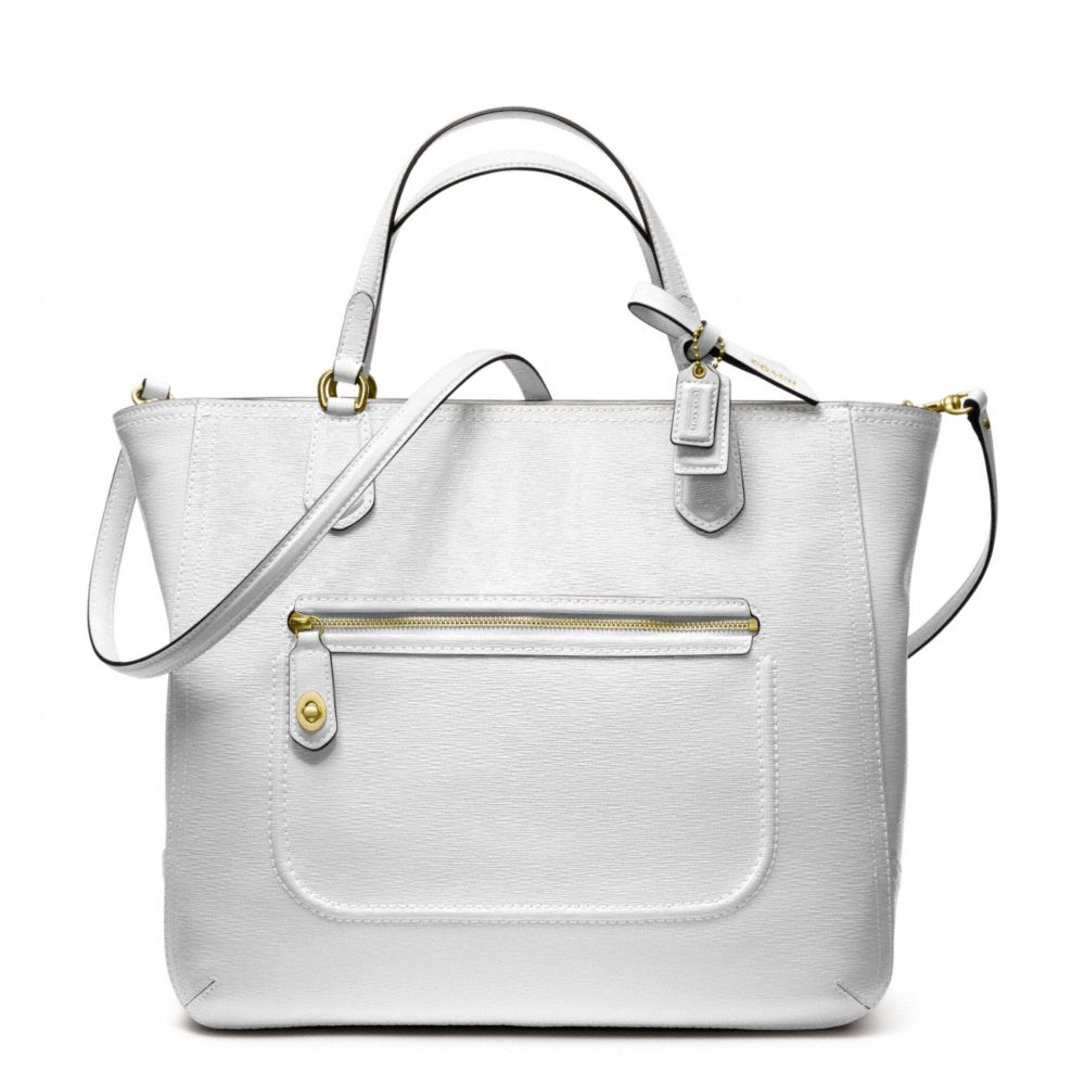 bac687919ce ... switzerland lyst coach poppy textured patent small blaire tote in white  0130f 49b38