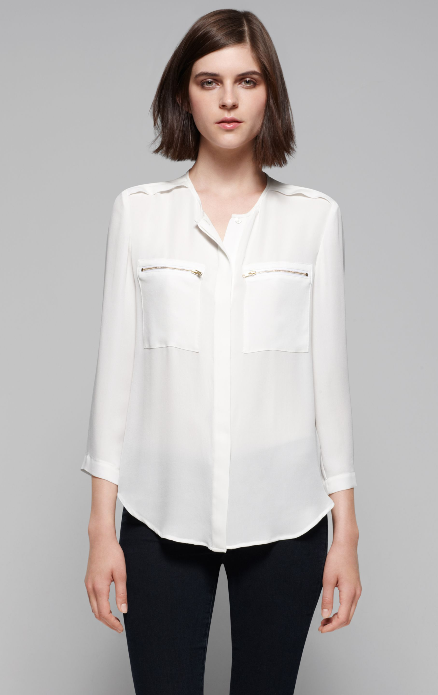 b997a5e240b Lyst Brundia Silk Blouse In White. 5031 Hepworth Blouse White Back Detail  Ec1 Bootcut Trousers Navy 054