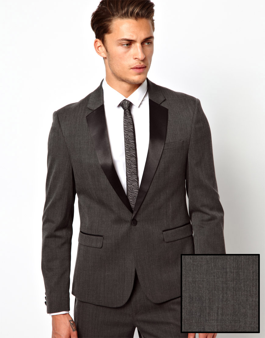 Asos Skinny Fit Tuxedo Suit Jacket In Polywool in Gray for Men | Lyst