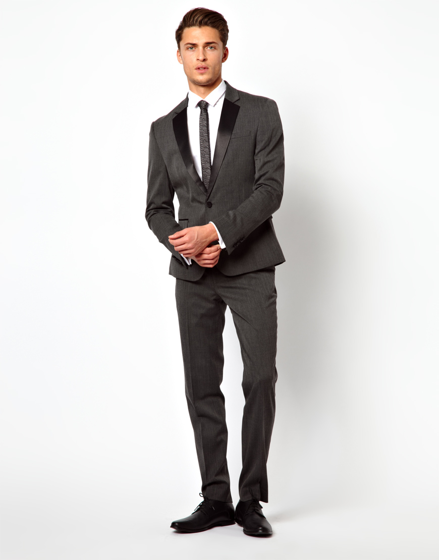 Asos Skinny Fit Tuxedo Suit Pants in Polywool in Gray for Men | Lyst