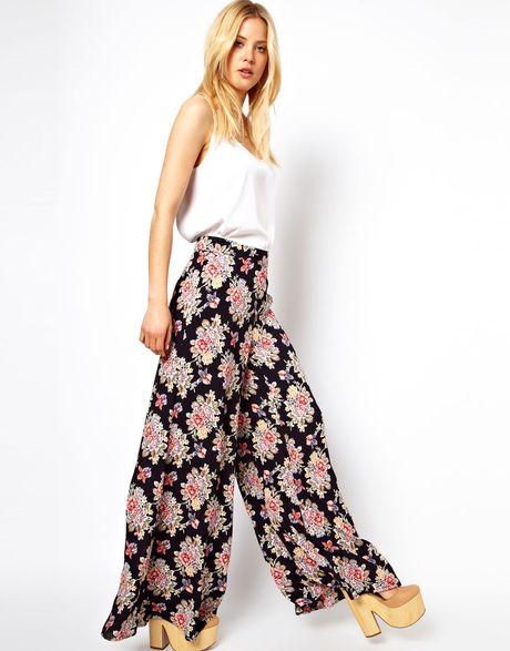 Asos Wide Leg Trousers In Vintage Floral in Floral (print ...