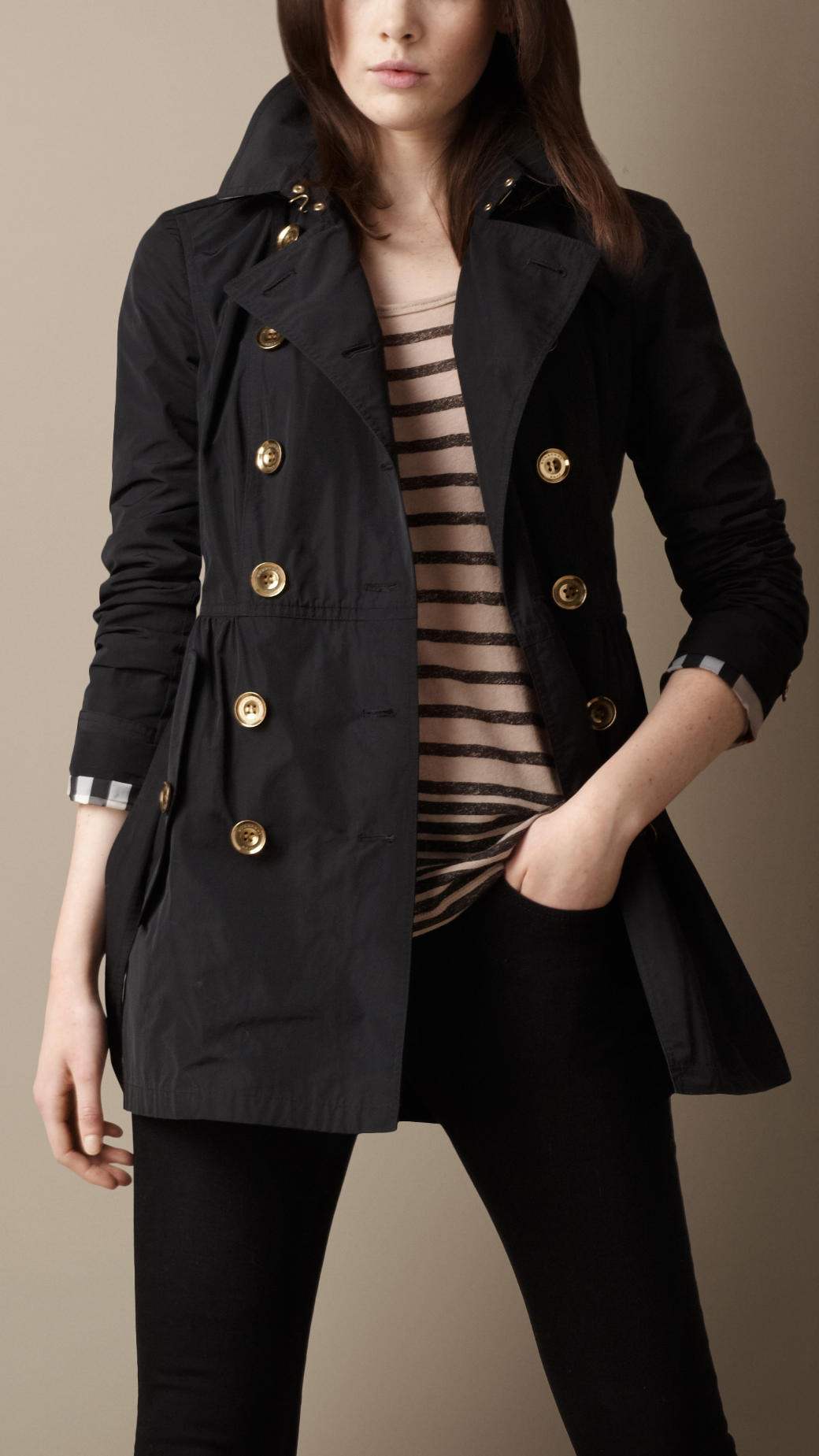 Burberry Brit Short Gathered Skirt Trench Coat In Black