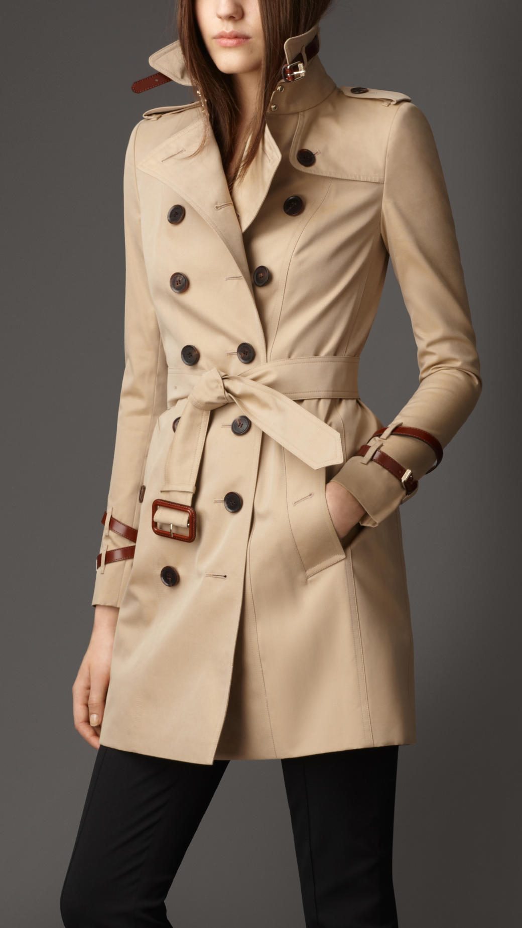 burberry mid length leather detail gabardine trench coat. Black Bedroom Furniture Sets. Home Design Ideas