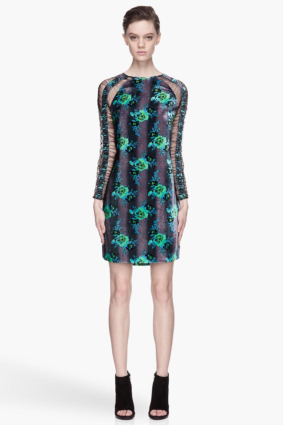 Lyst Christopher Kane Green Floral Velvet And Mesh