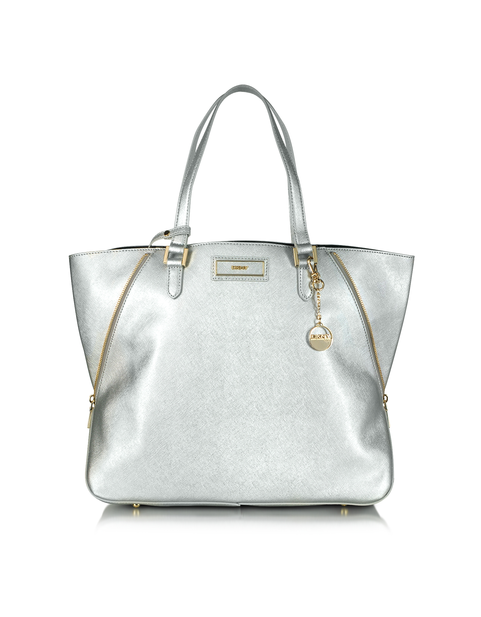 9a98d57a9fb7 Lyst - DKNY Large Saffiano Leather Zip Tote in Metallic