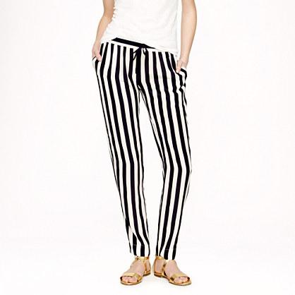 J.crew Silk Crepe Stripe Pants in Blue | Lyst