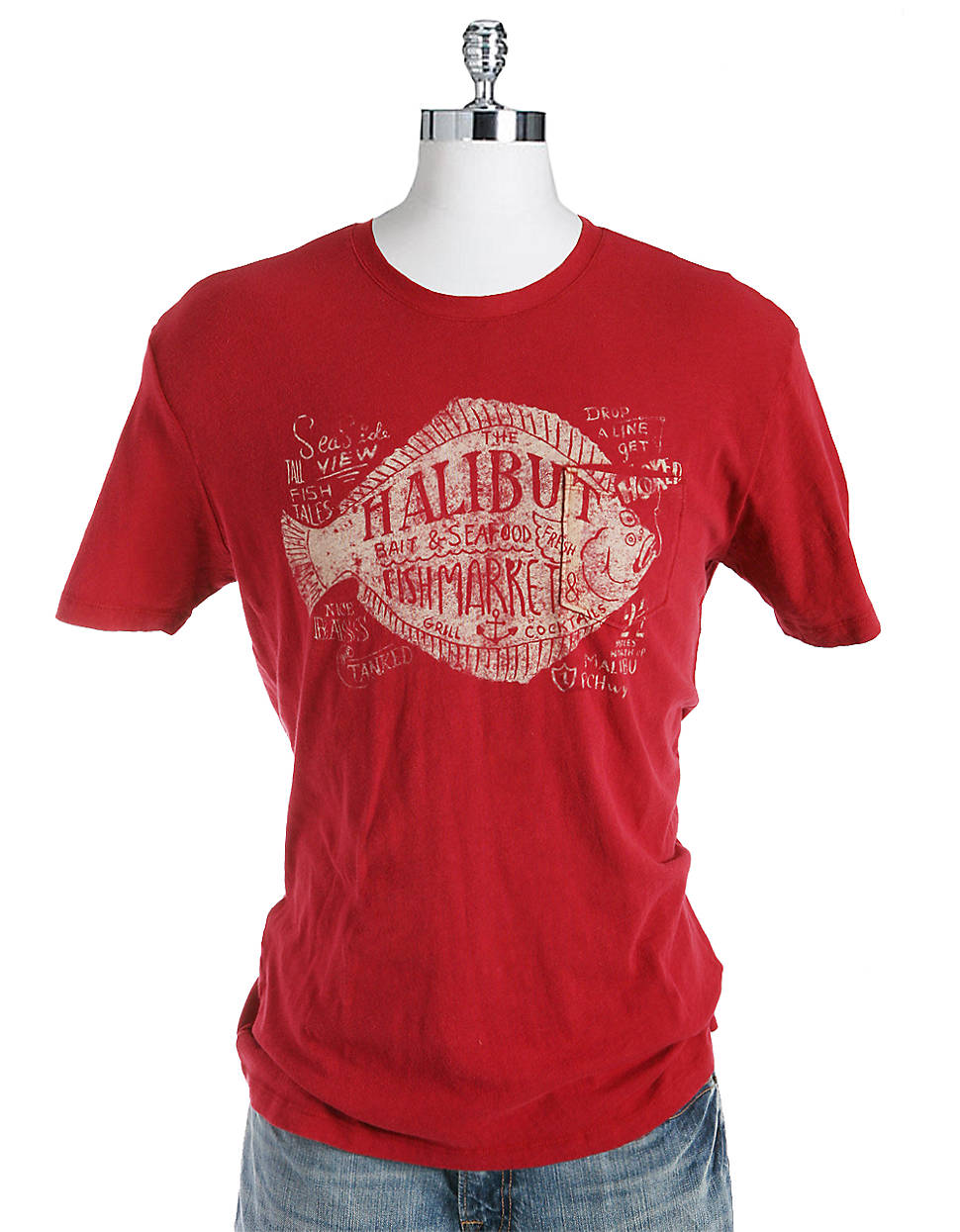 Lucky brand halibut fish market graphic t shirt in red for for Fishing t shirts brands