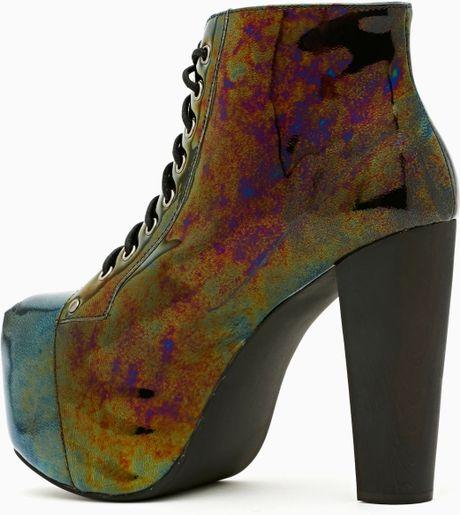 Nasty Gal Lita Platform Boot Oil Slick in Multicolor ...