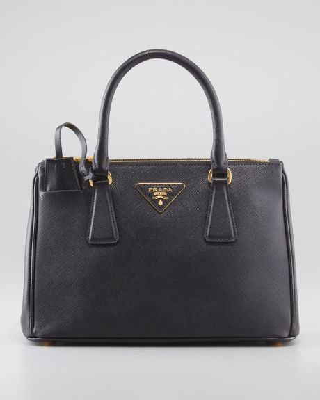 Prada Mini Saffiano Lux Tote Bag in Black
