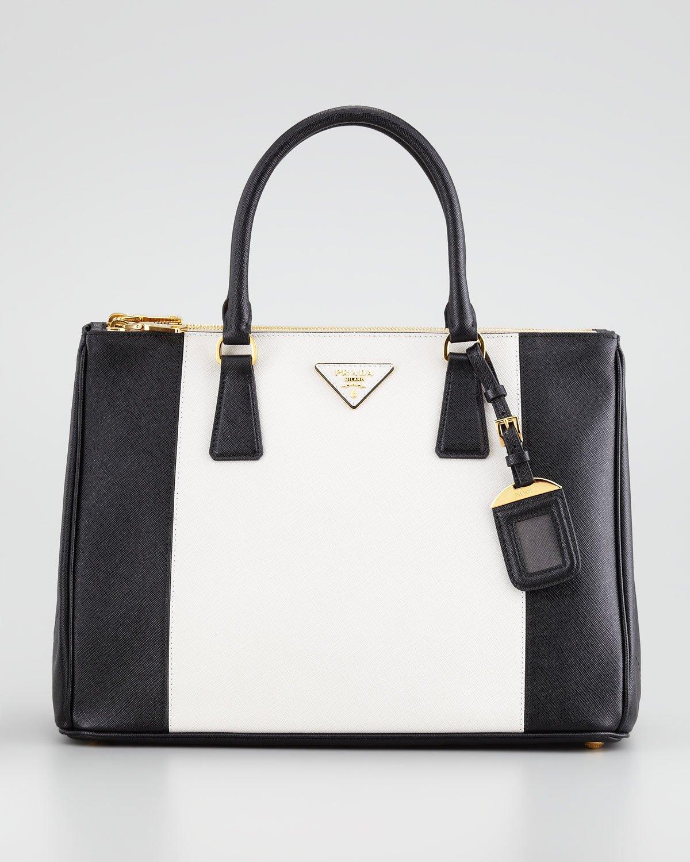 Prada Bicolor Saffiano Doublezip Tote Bag In Black Blackwhite