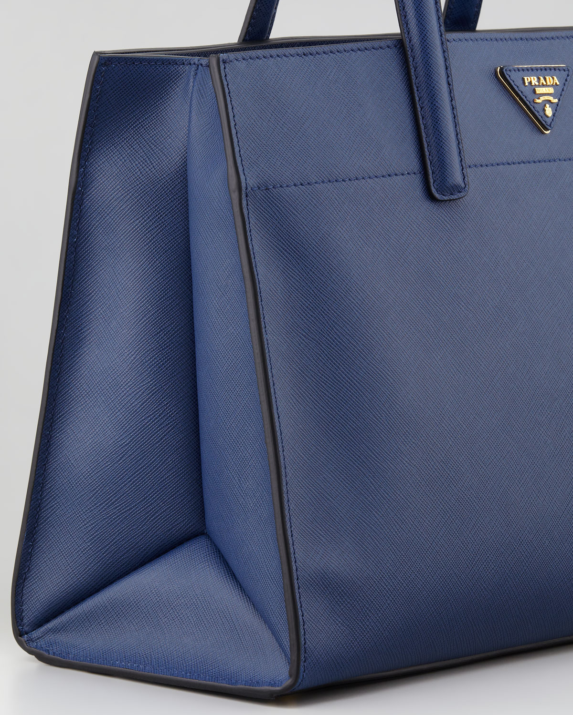 Prada Saffiano Soft Triple-pocket Tote Bag in Blue | Lyst