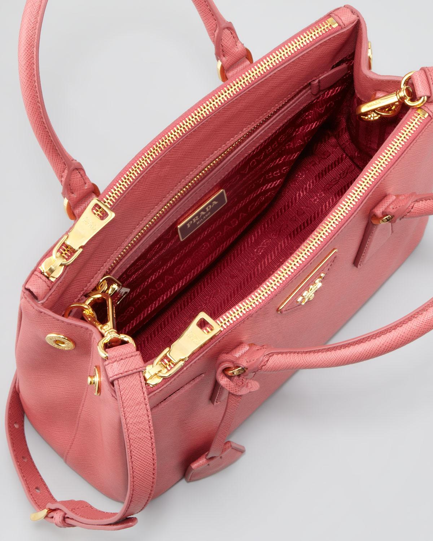 ... low price lyst prada mini saffiano lux tote bag in pink b0985 16ced  italy prada wine red ... 4915c08dbf