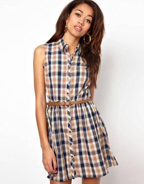 river island chelsea girl sleeveless check shirt dress in