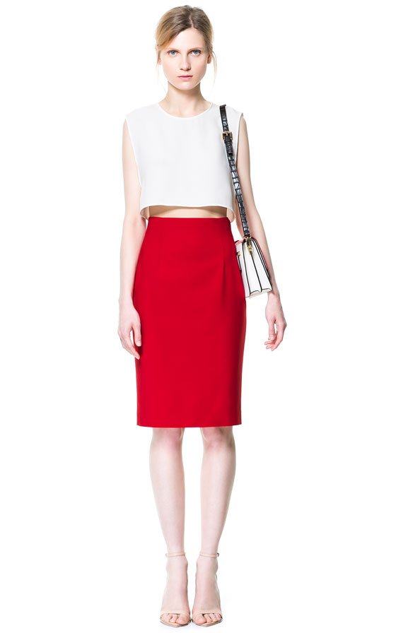 Zara High Waisted Pencil Skirt in Red | Lyst