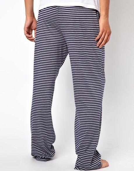 Asos Stripe Jersey Lounge Pants In Blue For Men Lyst