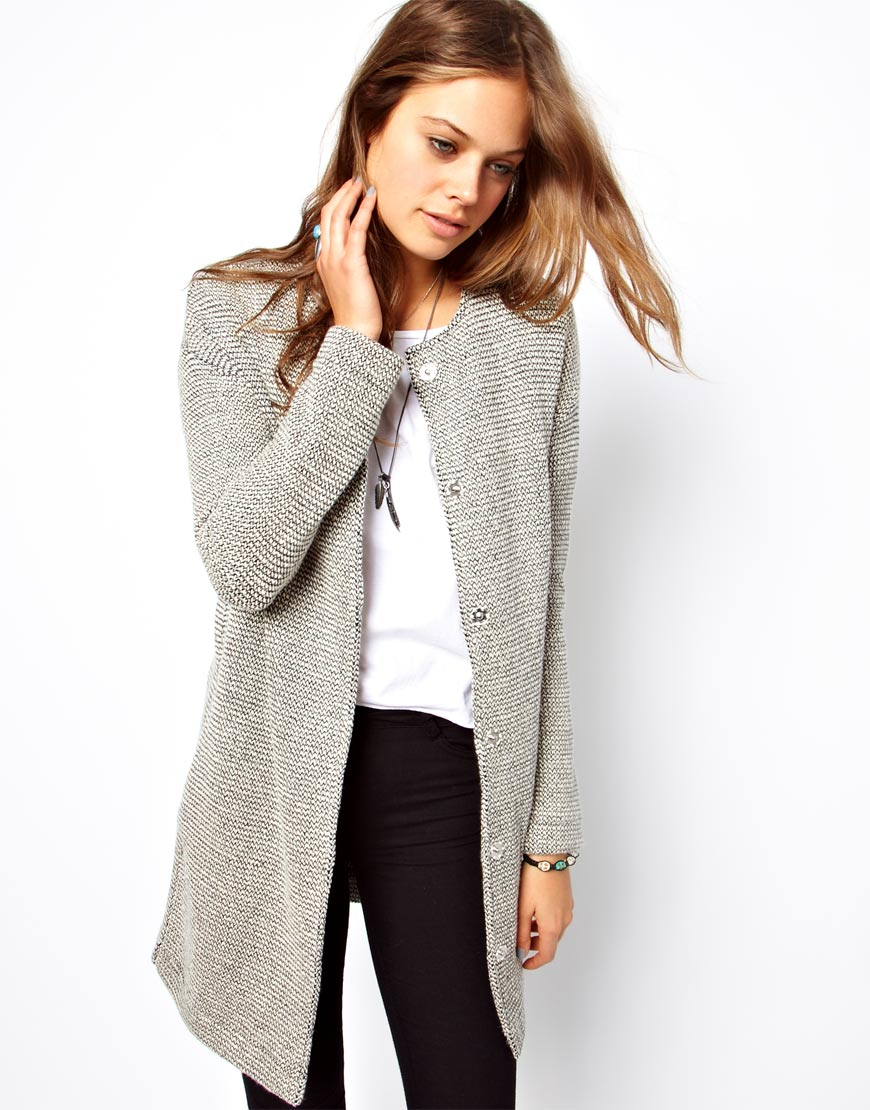 Asos Jacket In Longline And Texture in Gray   Lyst