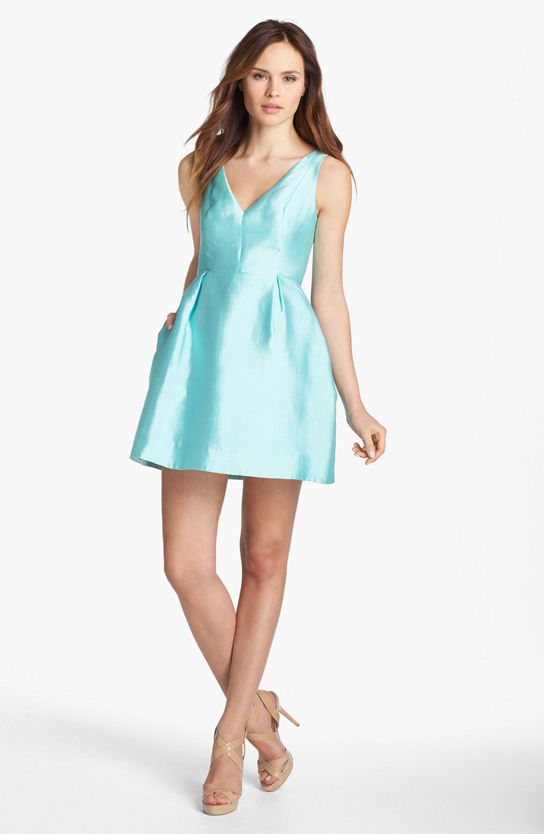 Kate Spade Susannah Silk Blend Fit Flare Dress In Blue