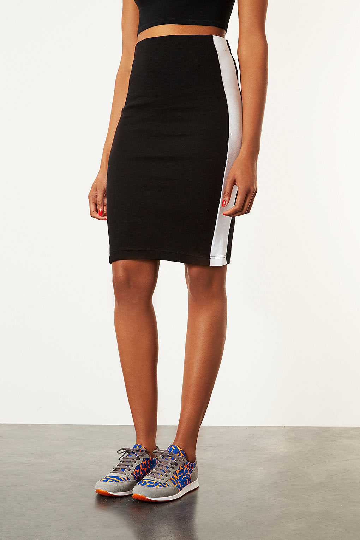 Lyst Topshop Tall Side Stripe Tube Skirt In Black