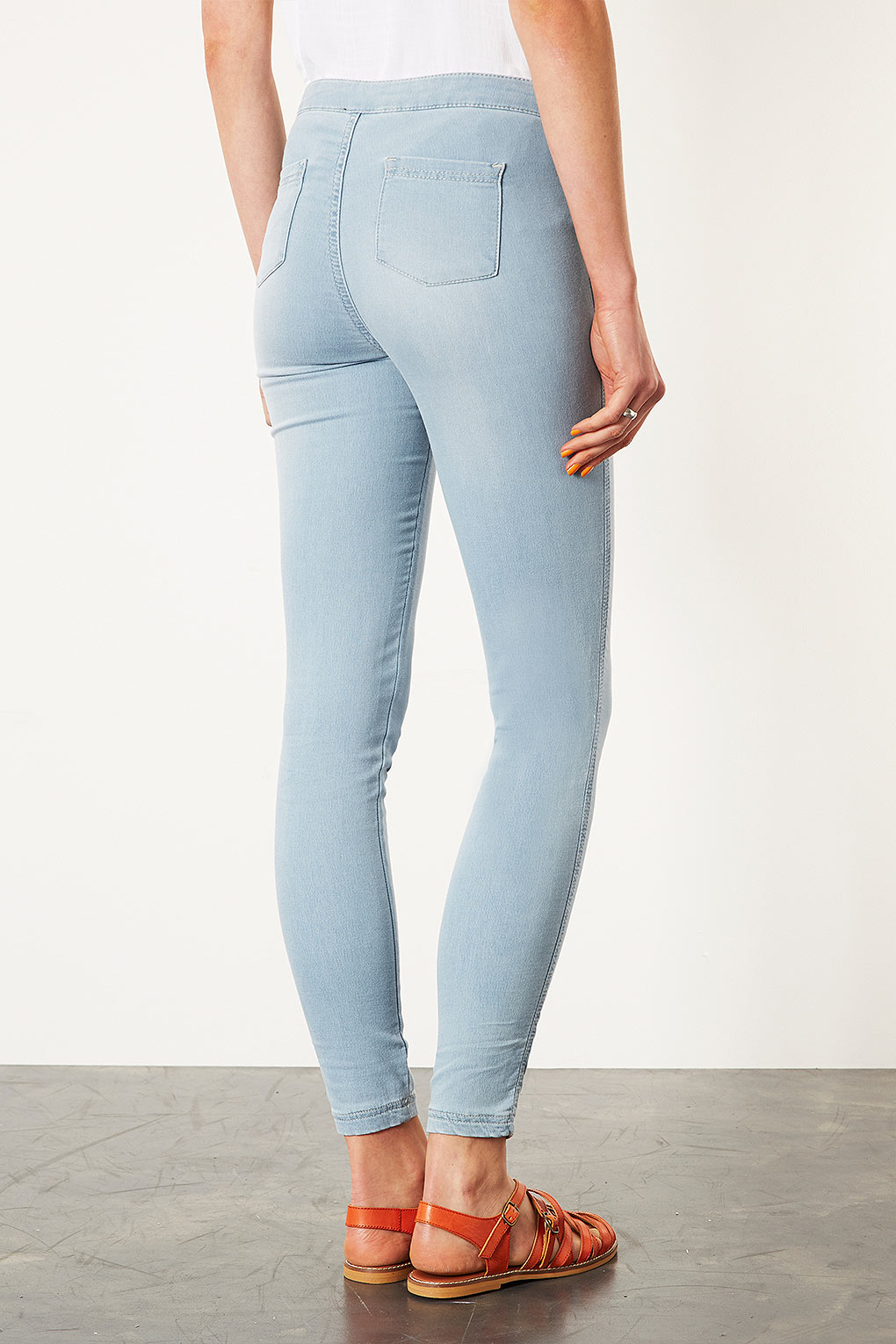 Topshop Jersey High Waist Jeggings in Blue | Lyst