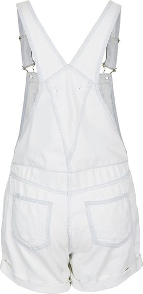 Topshop Petite Moto White Dungarees in Blue (white) - Lyst