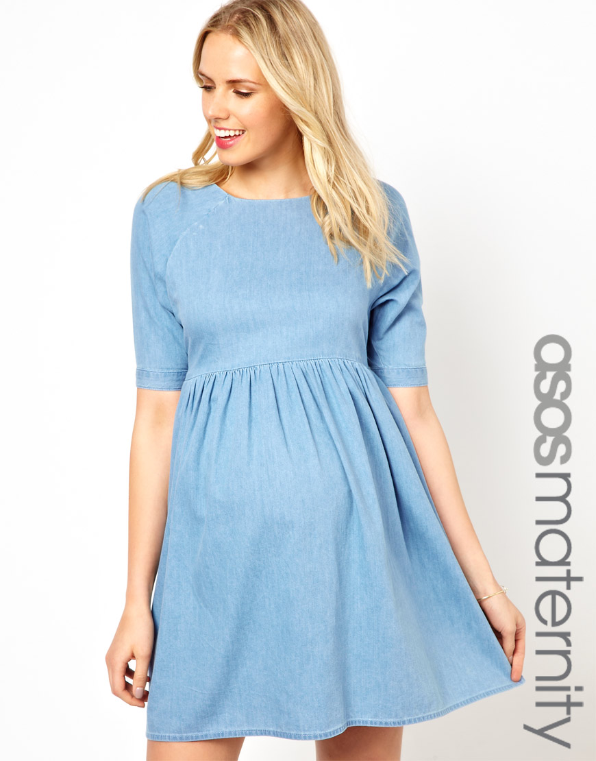 Fred perry asos maternity smock dress in denim in blue lyst gallery ombrellifo Choice Image