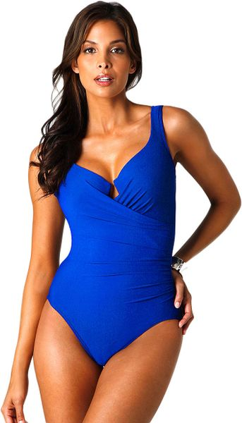 Miraclesuit Must Haves Escape Onepiece Swimsuit In Blue Lyst