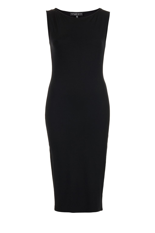 32663be75 TOPSHOP Petite Sleeveless Midi Bodycon Dress in Black - Lyst