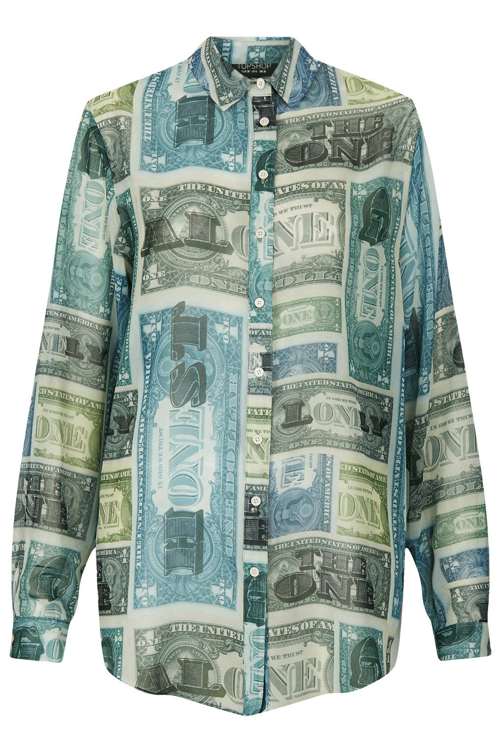 Lyst topshop allover money print shirt in green for How to make a shirt with money