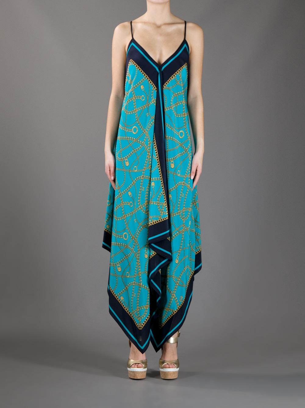 michael kors chain jewellery maxi dress in blue lyst