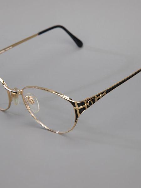 Valentino Vintage Oval Frame Glasses in Gold Lyst