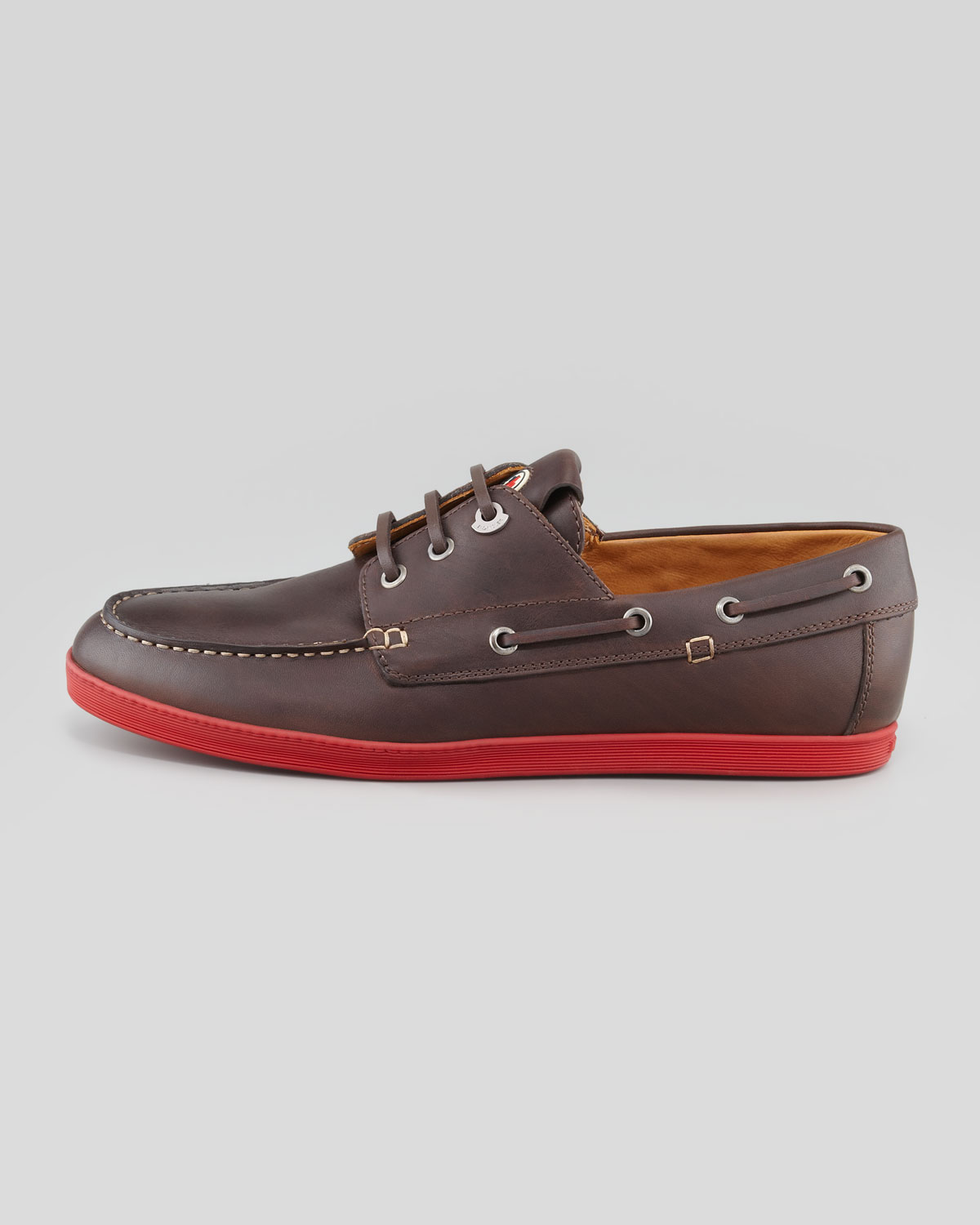 8f0ad1f601 Lyst - Moncler Guadaloupe Boat Shoe in Brown for Men