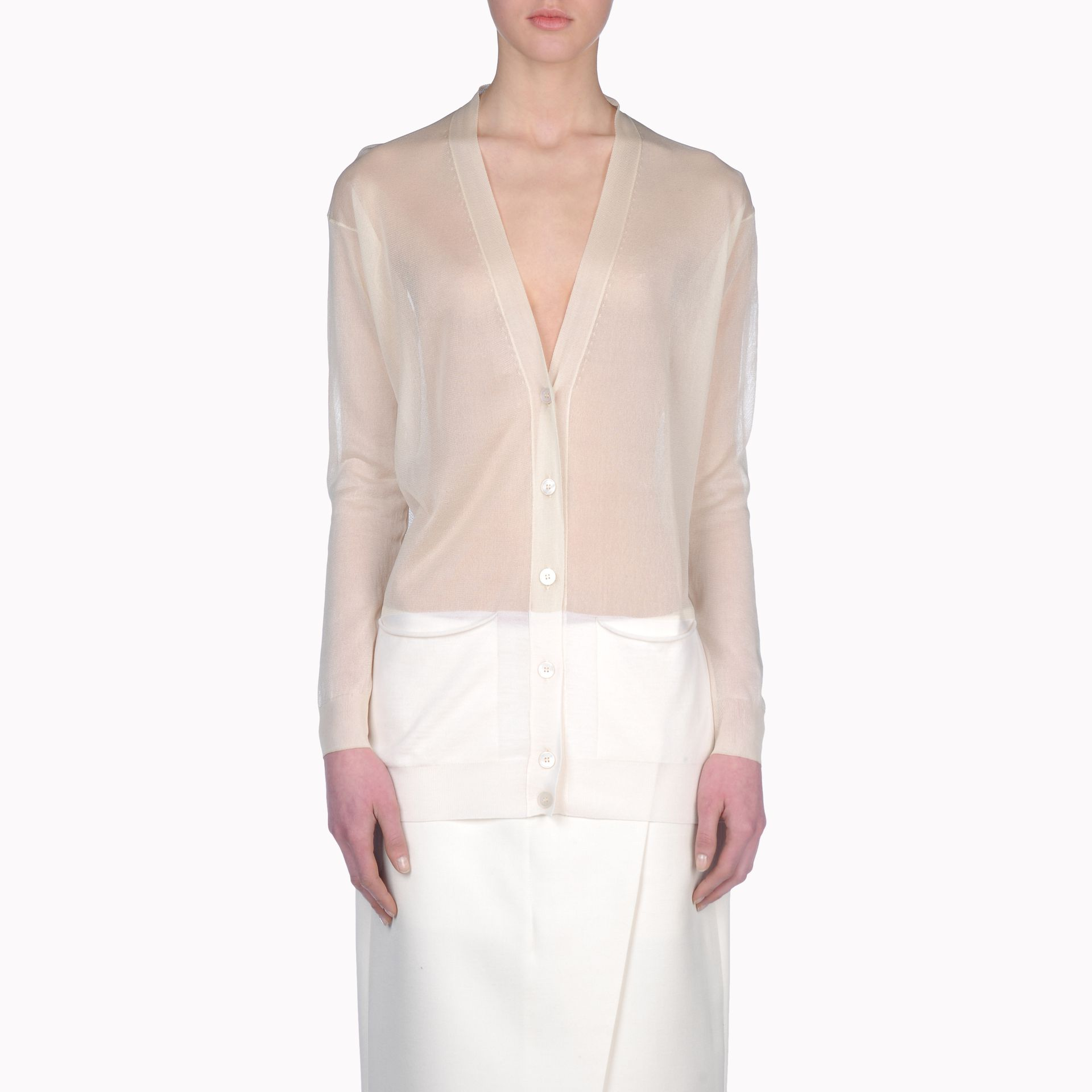 Stella mccartney Transparent Insert V Neck Cardigan in White | Lyst