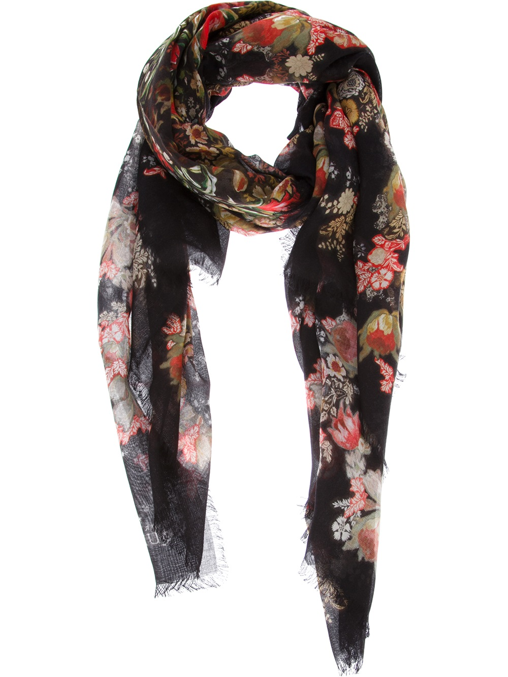 Floral and skull-print silk scarf Alexander McQueen 0SEsz