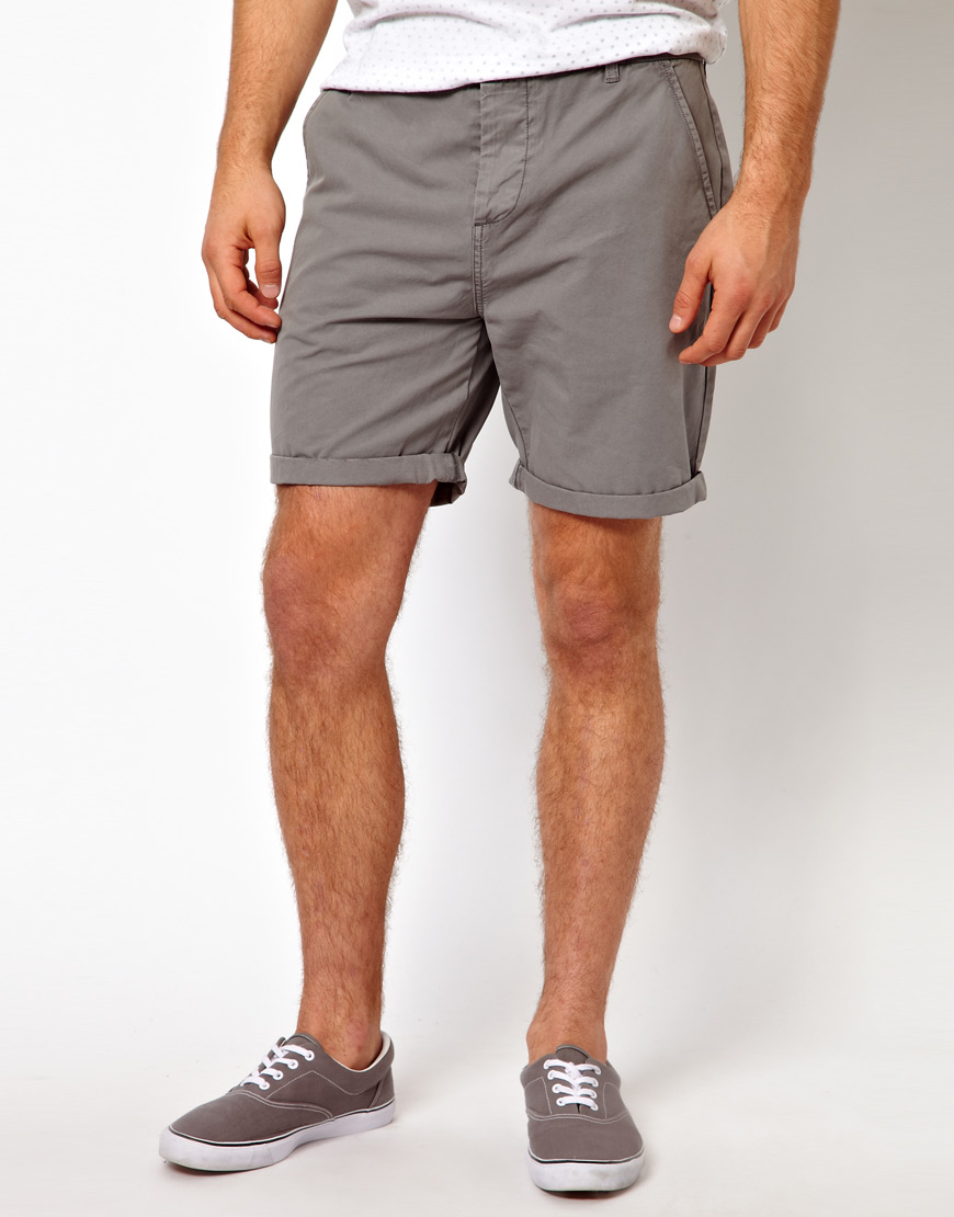 Asos Chino Shorts In Mid Length in Gray for Men | Lyst