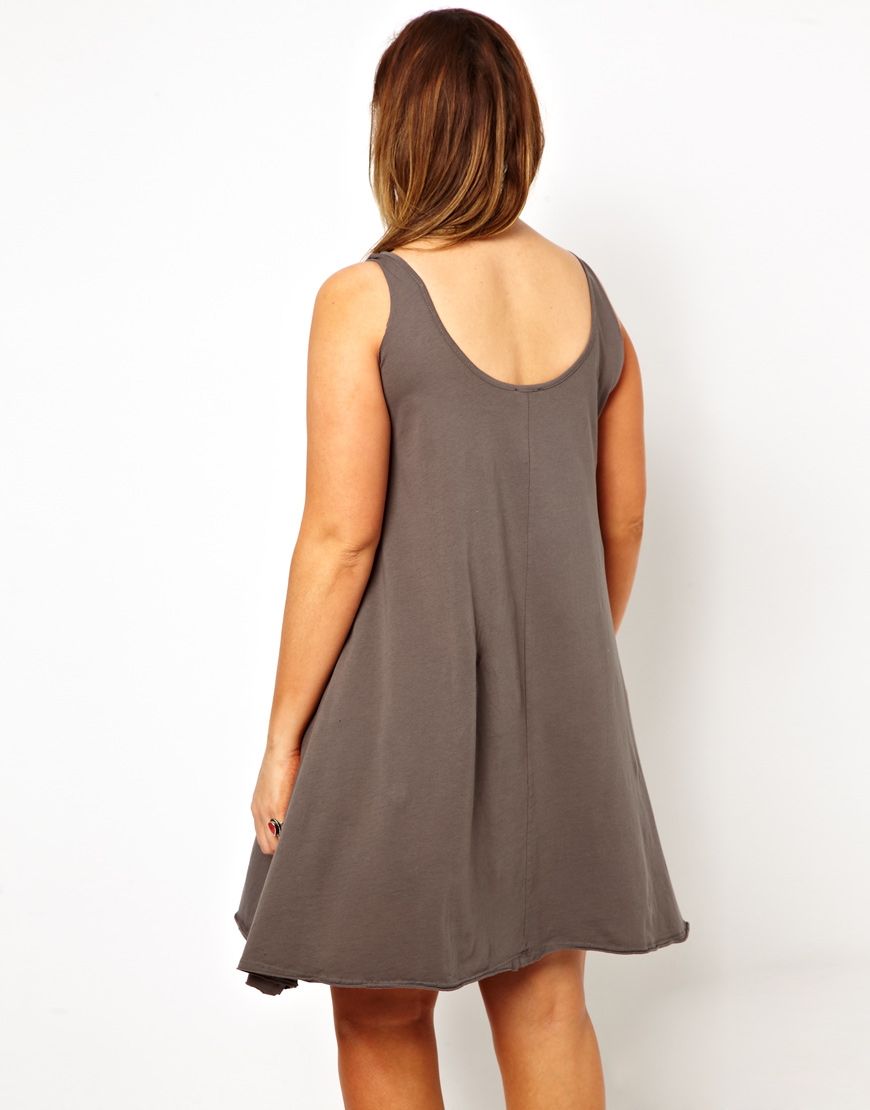448ddc0e67f3 ASOS Curve Swing Dress with Faded Rainbow in Gray - Lyst