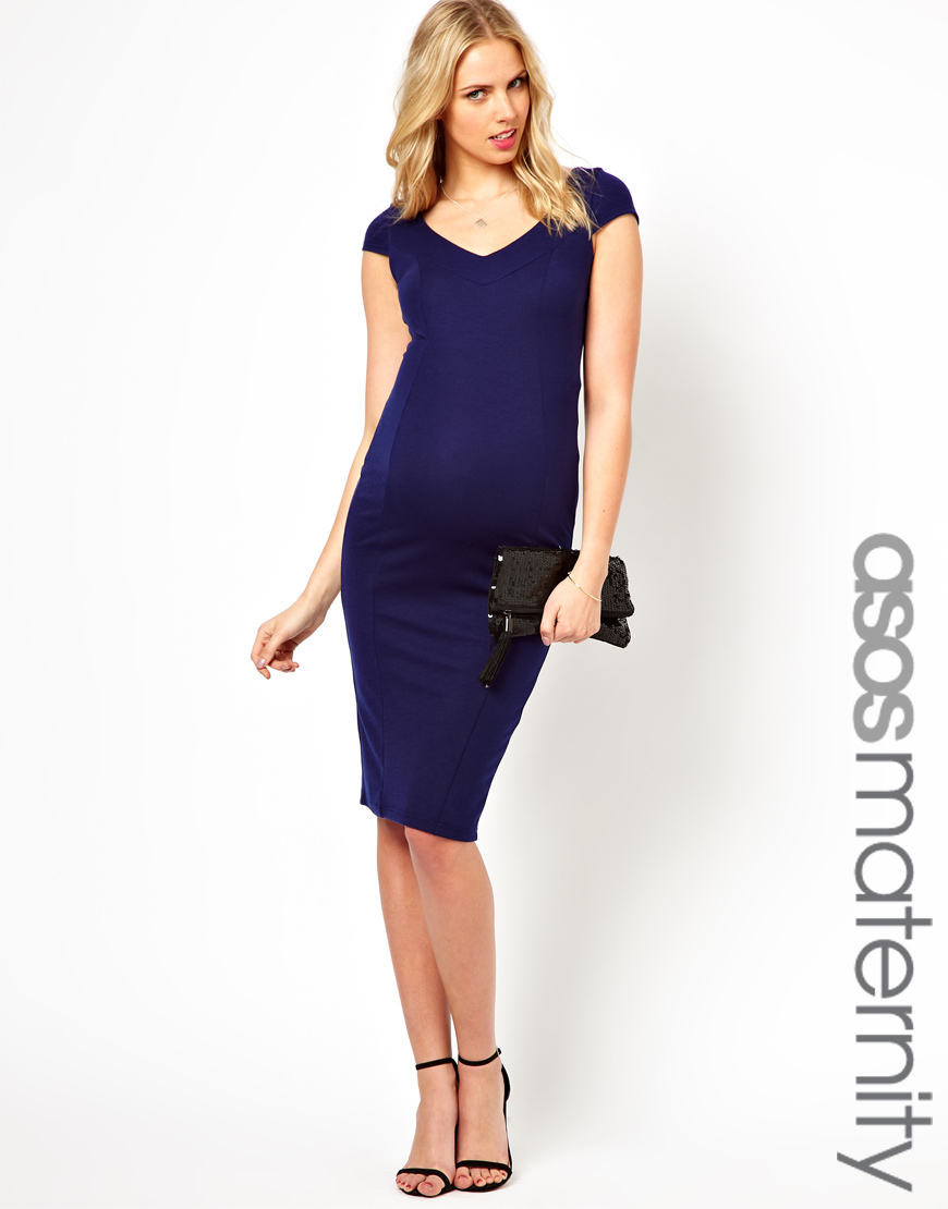 1fd4843c66e4b Sessun Asos Maternity Pencil Dress with Deep V Neck in Blue - Lyst