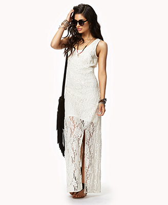 Forever 21 Lace Maxi Dress in White | Lyst