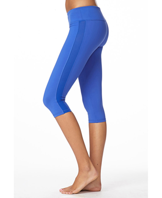 Forever 21 Mesh Paneled Workout Capris in Blue | Lyst