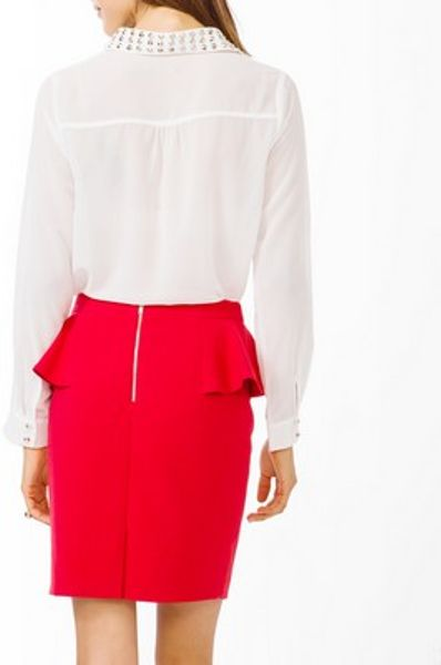 Zara White Blouse With Studded Collar 76