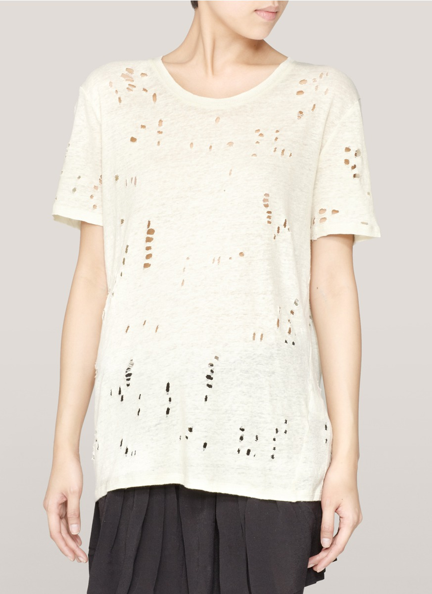Iro clay distressed t shirt in natural lyst for How to make a distressed shirt